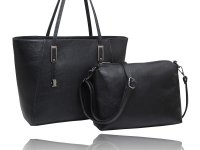 2 in 1 large tote with hardware on handles