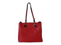 Medium square tote with triangle hardware on front-Available in Olive and Red