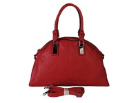 Medium half round shape satchel available in Olive and Red long shoulder strap included