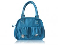 Medium satchel with 2 front pockets, additional shoulder strap included Available in Black, blue and nude